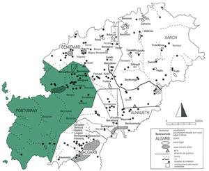 Districte (<em>juz</em>) de Portumany. Mapa dels assentaments andalusins de Yabisa. Elaboració: H.Kirchner - extret de la revista <em>Eivissa</em>.