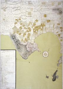 Es Pratet El plànol de 1738, <em>Eivissa i els seus voltants</em>, de Joanb Ballester, mostra l´amplitud del marjal o prat, que era aprofitat com a pastura entorn de la badia. Arxiu Històric d´Eivissa.