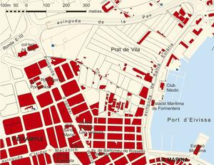 Plànol del barri des Pratet de l´eixample de la ciutat d´Eivissa. Elaboració: Rosa Vallès Costa / Josep F. Soriano Segura / Antoni Ferrer Torres.