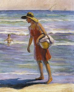<em>Dona a la platja</em> (1997). Oli sobre tela (73 x 60 cm); les marines són un dels temes preferits d´Antoni Prats Calbet.