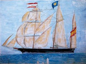 La pollacra goleta <em>Rosario</em>, que fou comandada pel capità Joan Prats Marí. Arxiu de la família Sorà.