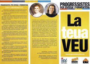 Fullet de propaganda de la candidatura Progressistes per Eivissa i Formentera, que concorregué al Senat per la circumscripció d´Eivissa i Formentera a les eleccions generals de 2004.