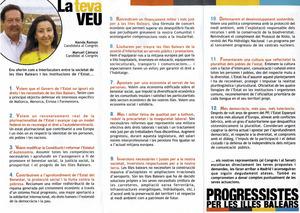 Fullet de propaganda de Progressistes per les Illes Balears, coalició que concorregué a les eleccions de 2004 al Congrés de diputats per la circunscripció de les Illes Balears.
