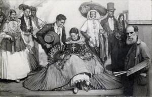 Narcís Puget Viñas finalitzant un quadre de temàtica costumista; la model central és la seua neboda Salvadora Torres Puget. Foto: col·lecció Garcia Ninet.