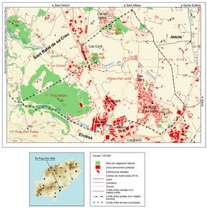 Es Puig d´en Valls. Mapa general del poble. Elaboració: Maurici Cusesta Labèrnia / José F. Soriano Segura / Antoni Ferrer Torres.