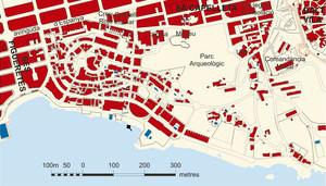 Es Puig des Molins. Plànol d´aquesta barriada de la ciutat d´Eivissa. Elaboració: Maurici Cuesta i Labèrnia / José F. Soriano Segura / Antoni Ferrer Torres.