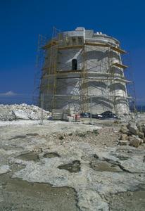 La torre de Punta Prima durant les obres de restauració. Foto: David García Jiménez.
