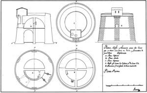 Plànols de perfil, planta i alçat de la torre de Punta Prima. Extret de <em>Torres y piratas en las islas Pitiusas.</em>