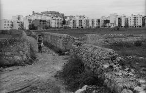 A dalt, antic camí des Quatre Cantons, al pla de Vila. Foto: Josep Buil Mayral.