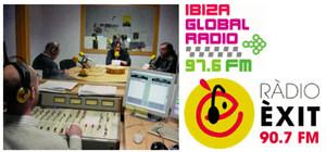 Estudi de l´avinguda del Vuit d´Agost i anagrama d´Ibiza Global Ràdio i Ràdio Èxit. Aquestes dues emissores formen part del mateix grup.