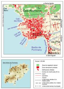 Mapa de la vénda de sa Raval, del poble de Sant Antoni de Portmany. Elaboració: José F. Soriano Segura / Antoni Ferrer Torres.
