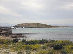 L´illa Redona, a la costa de ses Illetes, vista des del pujol des Palo. Foto: Vicent Ferrer Mayans.