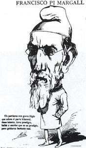 Caricatura del català Francesc Pi i Margall, segon president de la Primera República Espanyola i un dels principals teòrics del federalisme, opció política que es fonamentava en la idea de pacte i de llibertat de l´individu. Extret de <em>Madrid Político.</em>