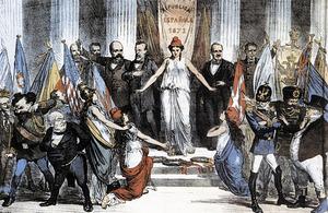 La Primera República Espanyola només va ser reconeguda per dos estats federats: Suïssa (Confederació Helvètica) i els Estats Units d´Amèrica. L´al·legoria mostra la jove república entre els seus valedors, mentre les grans potències d´Europa li giren l´esquena. Extret de <em>La Flaca</em>.