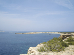 Reserva Marina des Freus d´Eivissa i Formentera. La platja de sa Torreta des de la torre de sa Guardiola, espai on es troben magnífics esculls-barrera, formació considerada com una raresa a tota la Mediterrània. Foto: EEiF.