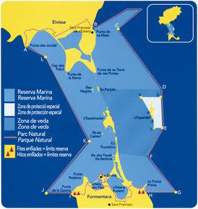 Plànol de la Reserva Marina des Freus d´Eivissa i Formentera, editat l´any 2008 per la Conselleria d´Agricultura i Pesca del Govern de les Illes Balears. Extret de <em>Pesca recreativa a les Illes Balears.</em>