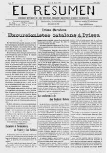 Portada d´un número del periòdic setmanari <em>El Resumen</em>, editat entre 1908 i 1911. Arxiu Històric Municipal d´Eivissa.
