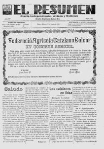 Portada d´<em>El Resumen</em> del dia 2 de juny de 1914 amb la notícia del Congrés Agrícola Catalanobalear celebrat a Eivissa. Arxiu Històric Municipal d´Eivissa.