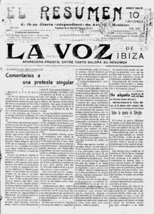<em>El Resumen</em>, que fou substituït per <em>La Voz de Ibiza</em>. Arxiu Històric Municipal d´Eivissa.