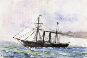 Dibuix del primer vaixell que portà el nom de Rey D. Jaime I, amb aparell de goleta de velatxo. Extret de <em>Vapores de las Islas Baleares.</em>