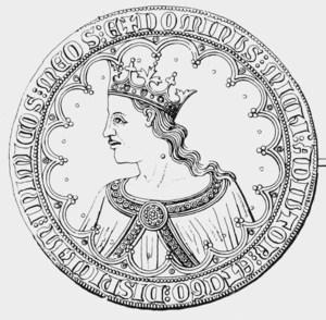 Crónicas de los Reyes de Castilla. Una moneda de Pere I de Castella.