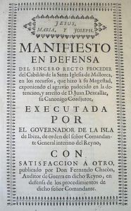 Portada del <em>Manifiesto en defensa del sincero recto proceder del Cabildo de la Santa Iglesia de Mallorca...</em>, del qual &eacute;s autor l´advocat eivissenc Joan Riambau Guasch.