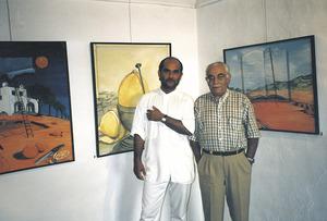 """El fotògraf Vicent Ribas Prats """"Trull"""", a la dreta de la imatge, acompanyat del pintor polonès Juli Dziamsky."""