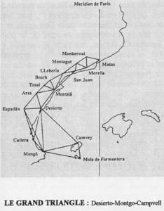 Triangulació entre les Pitiüses, el Montgó i el desert de les Palmes (Castelló), obra de José Rodríguez González i altres científics com Biot i Aragó.