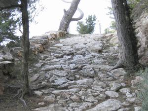 El camí de sa Pujada, popularment designat com camí Romà. El seu traçat fou eixamplat i consolidat pel Pla de millores de 1798. Foto: Vicent Ferrer Mayans.
