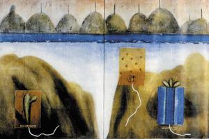 L´obra <em>Forja els seus fills a imatge del pare </em>(1992), tècnica mixta sobre tela, 146 x 228 cm, obra de Luis Miguel Romero Jiménez.