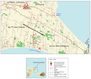 Mapa de la vénda de ses Roques, a Formentera. Elaboració: Vicent Ferrer Mayans / José F. Soriano Segura / Antoni Ferrer Torres.