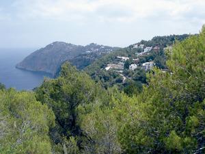La urbanització Illa Blanca, amb la punta de sa Creu al fons, a la vénda des Rubió, del poble de Sant Miquel de Balansat. Foto: EEiF.