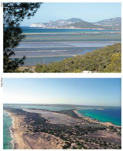 Ses Salines. A dalt, una vista dels estanys de les salines eivissenques, presa des des Corb Marí, es Codolar. A baix, una vista aèria de les salines de Formentera. Fotos: Felip Cirer Costa i Foto Pins.