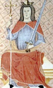 Sanç I, rei de Mallorca (1311-1324), segons una il·lustració del <em>Llibre dels privilegis</em> custodiat a l´Arxiu Històric de Mallorca.