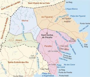 Mapa de les véndes del poble de Sant Carles de Peralta. Elaboració: José F. Soriano Segura / Antoni Ferrer Torres.