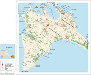 Mapa general del poble de Sant Francesc Xavier. Elaboració: José F. Soriano Segura / Antoni Ferrer Torres.