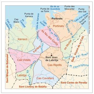 Mapa de les véndes del poble de Sant Joan de Labritja. Elaboració: José F. Soriano Segura / Antoni Ferrer Torres.
