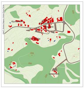Plànol del nucli urbà de Sant Joan de Labritja. Elaboració: José F. Soriano Segura / Antoni Ferrer Torres.