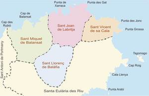Mapa de les parròquies del municipi de Sant Joan de Labritja. Elaboració: José F. Soriano Segura / Antoni Ferrer Torres.