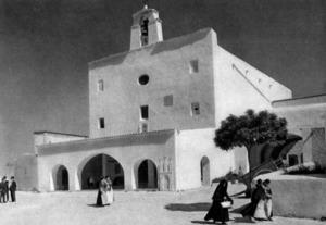 Sant Josep de sa Talaia. L´església del poble en una imatge dels anys cinquanta del s. XX.