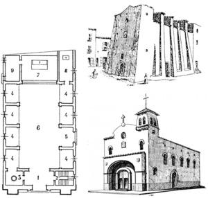 A dalt, a la dreta, el temple de la parròquia de Sant Salvador anterior a la Guerra Civil Espanyola; a baix, plànol de la planta i dibuix del projecte que es va dur a terme a la postguerra. Extret de la revista <em>Ibiza</em>.