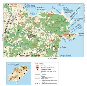 Mapa general del poble de Sant Vicent de sa Cala. Elaboració: José F. Soriano Segura / Antoni Ferrer Torres.