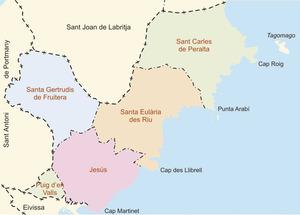 Mapa de les parròquies del Municipi de Santa Eulària des Riu. Elaboració: José F. Soriano Segura / Antoni Ferrer Torres.