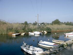 La part baixa del riu de Santa Eulària, plena d'aigua de la mar, és aprofitada intensament com a zona de refugi d'embarcacions petites. A la fotografia, lloc on el torrent des Ierns s'entrega al riu a pocs metres de la desembocadura. Foto: Antoni Ferrer Abárzuza.