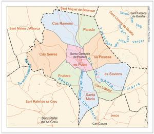 Mapa de les véndes del poble de Santa Gertrudis de Fruitera. Elaboració: José F. Soriano Segura / Antoni Ferrer Torres.