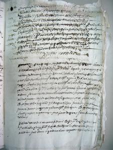 Pàgina 34 del <em>Llibre de Juraria</em> de 1571-72, on consta la signatura autògrafa del governador Antic Sarriera.