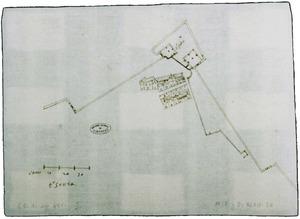 Plànol del baluard de Sant Pere enviat al virrei de Mallorca el 1597, signat per Antoni Saura. Archivo General de Simancas.