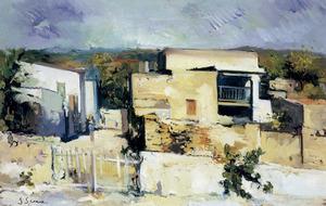 Una obra de Joan Serra Melgosa: <em>Cases d´Eivissa</em>, oli sobre tela (1948). Col·lecció SDala Parés.