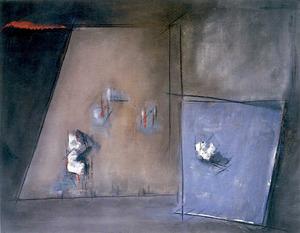 <em>Plans i coses</em> (1990), tècnica mixta 90 x 112 cm., obra del pintor Fèlix Serra Ribas. Foto: arxiu de Catalina Verdera Ribas.