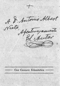 Vicent Serra i Orvay. Dedicatòria de l´obra<em>La explicación astronómica del fin del mundo bíblico</em> al mestre Antoni Albert Nieto. Extret de <em>Vicent Serra Orvai (1869-1952)</em>.